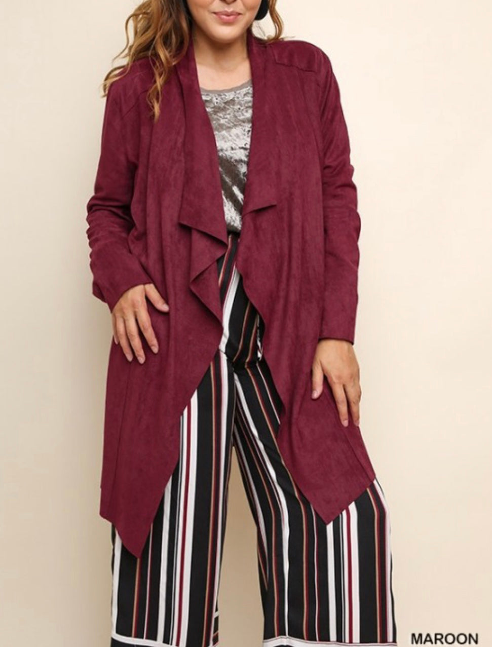 PLUS wine sueded jacket