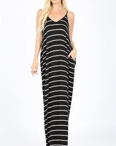 Black and white stripe maxi dress