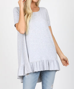 Heather grey ruffle bottom tee