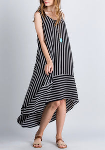 Striped hi low hem dress