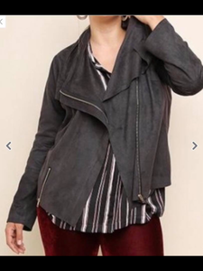 PLUS Black sueded moto jacket
