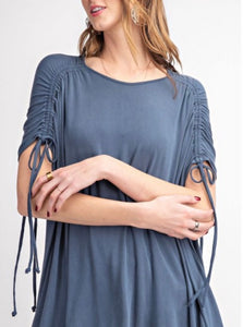 Navy ruched top (plus available)