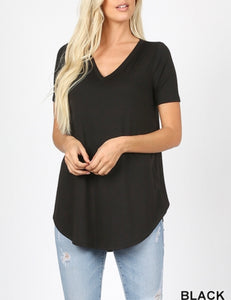 Black V-neck tee (Plus available)