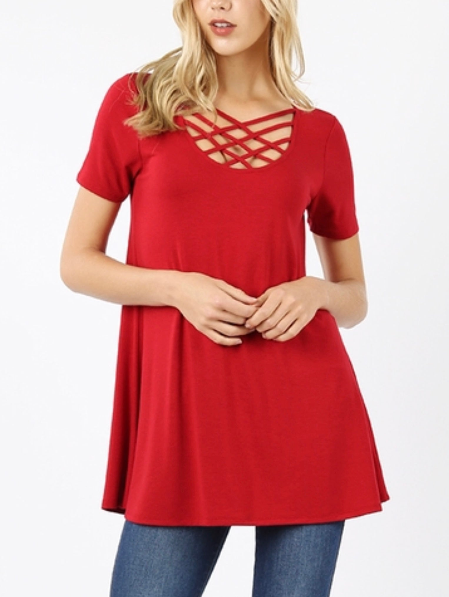 PLUS red strappy tee