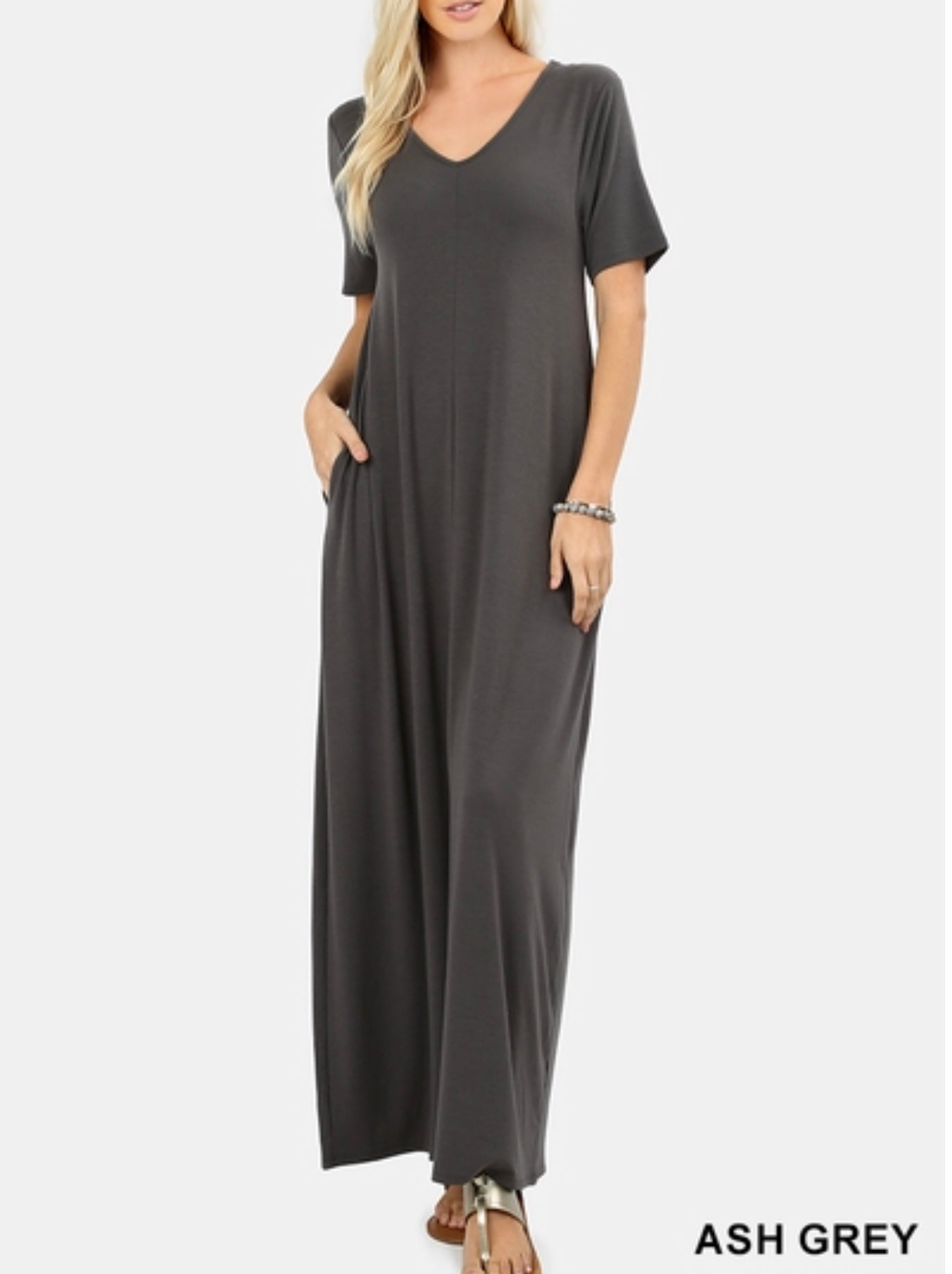 Grey maxi dress with pockets (plus available)