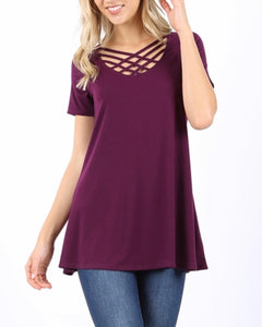 Dark plum strappy tee