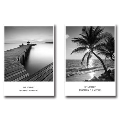 Sea Beach Bridge Sunset Landscape Wall Art Canvas & Posters