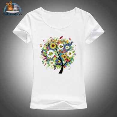 2017 Summer Beautiful Flowers Plants Trees Printed T Shirt Women Tops Tees Short Sleeve Fashion