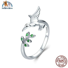 925 Sterling Silver Bird & Leaves Finger Rings For Women 100007323