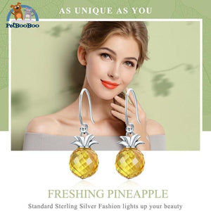 925 Sterling Silver Hanging Pineapple Earrings For Women Jewel