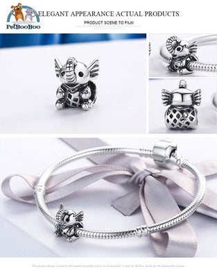925 Sterling Silver Lovely Elephant Bead Charm Bracelet Jewel