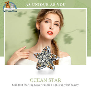 925 Sterling Silver Ocean Starfish For Charm Bracelet Jewel