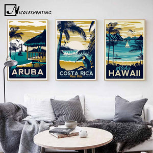Aruba Hawaii Costa Rica Beach Vintage Landscape Wall Art Canvas & Posters