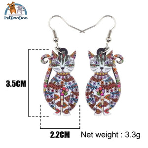 Acrylic Cat Drops Earrings For Women 200000168
