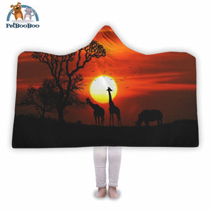 Africa Hooded Blanket Adult 80X55
