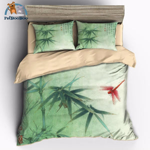 Bamboo And Red Dragonfly Bedding Duvet Cover Set Usa Twin 173X218Cm Duvet Cover