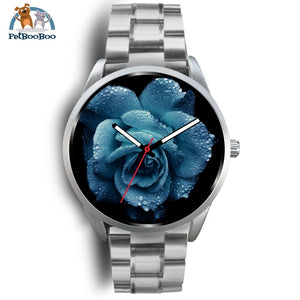 Big Blue Rose Silver Watch Mens 40Mm / Metal Link