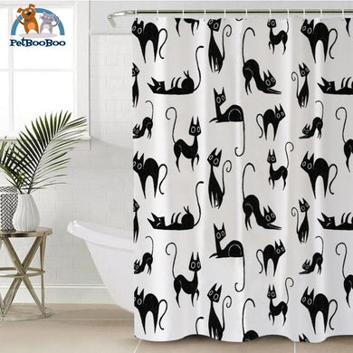 Black Cats Shower Curtain 180X200Cm Shower Curtain