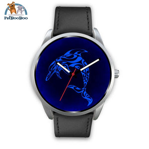 Blue Dolphin Silver Watch Mens 40Mm / Black Leather