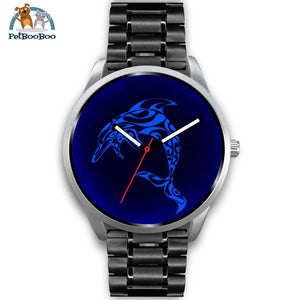 Blue Dolphin Silver Watch Mens 40Mm / Black Metal Link