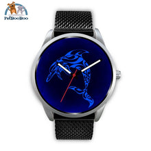 Blue Dolphin Silver Watch Mens 40Mm / Black Metal Mesh