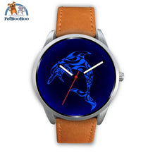 Blue Dolphin Silver Watch Mens 40Mm / Brown Leather