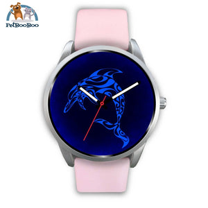 Blue Dolphin Silver Watch Mens 40Mm / Pink Leather