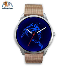 Blue Dolphin Silver Watch Mens 40Mm / Rose Gold Metal Mesh