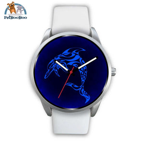 Blue Dolphin Silver Watch Mens 40Mm / White Leather