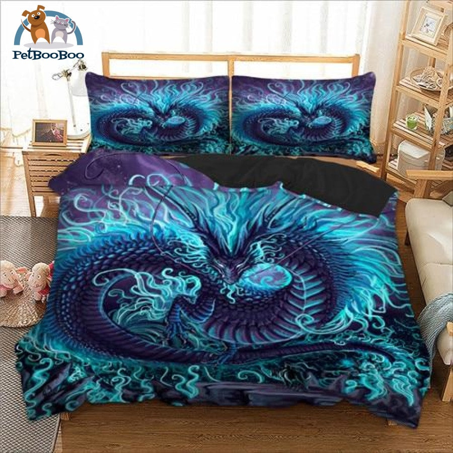 Blue Dragon Bedding Duvet Cover Set Colour As Picture / Double 180X210Cm Duvet Cover