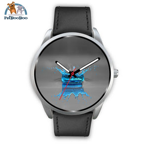 Blue Drop Grey Silver Watch Mens 40Mm / Black Leather