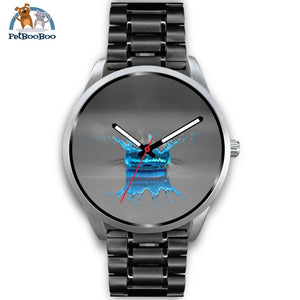 Blue Drop Grey Silver Watch Mens 40Mm / Black Metal Link