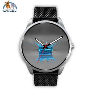 Blue Drop Grey Silver Watch Mens 40Mm / Black Metal Mesh