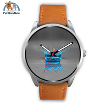 Blue Drop Grey Silver Watch Mens 40Mm / Brown Leather