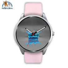 Blue Drop Grey Silver Watch Mens 40Mm / Pink Leather