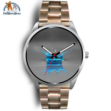 Blue Drop Grey Silver Watch Mens 40Mm / Rose Gold Metal Link
