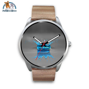 Blue Drop Grey Silver Watch Mens 40Mm / Rose Gold Metal Mesh