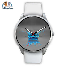 Blue Drop Grey Silver Watch Mens 40Mm / White Leather