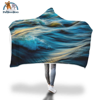 Blue Ocean Hooded Blanket Adult 80X55