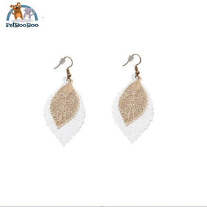 Boho Double Color Leaves Dangle Earrings For Women 200000168