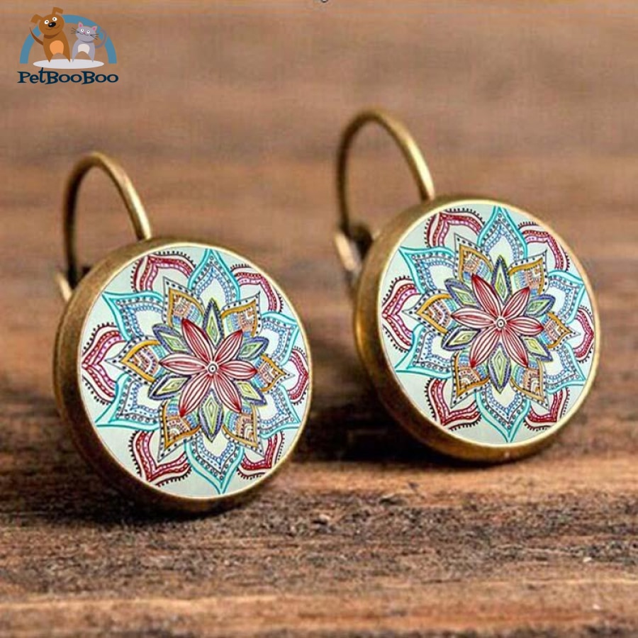 Boho Flower Printed Hoop Earrings For Women 1 200000170