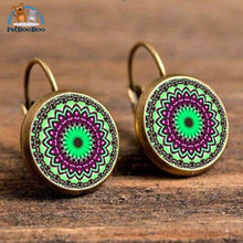Boho Flower Printed Hoop Earrings For Women 10 200000170