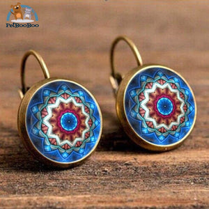 Boho Flower Printed Hoop Earrings For Women 11 200000170