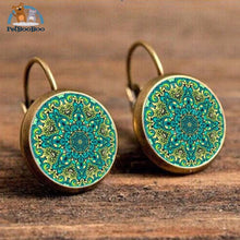 Boho Flower Printed Hoop Earrings For Women 4 200000170