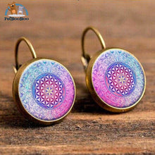 Boho Flower Printed Hoop Earrings For Women 7 200000170