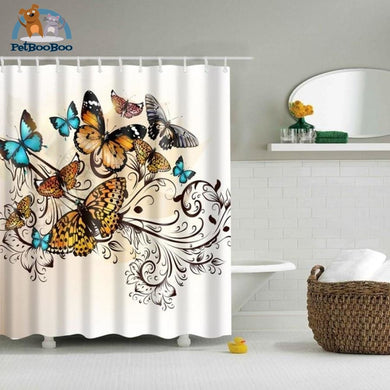 Butterflies Flower Shower Curtain Shower Curtain