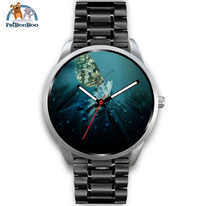 Butterfly Silver Watch Mens 40Mm / Black Metal Link