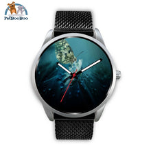 Butterfly Silver Watch Mens 40Mm / Black Metal Mesh