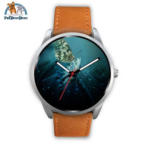 Butterfly Silver Watch Mens 40Mm / Brown Leather