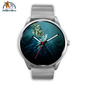 Butterfly Silver Watch Mens 40Mm / Metal Mesh